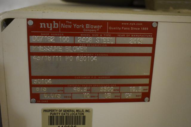 New York Blower Package Size 2408/Steel 15 HP Motor - Image 2 of 2