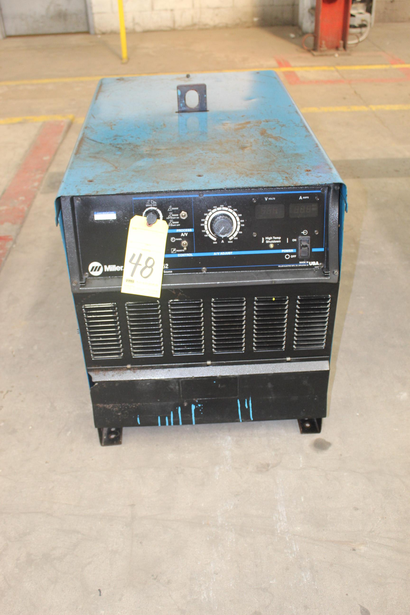 WELDING MACHINE, MILLER MDL. DIMENSION 652, 650 amps @ 44 v., 100% duty cycle, S/N LC618990
