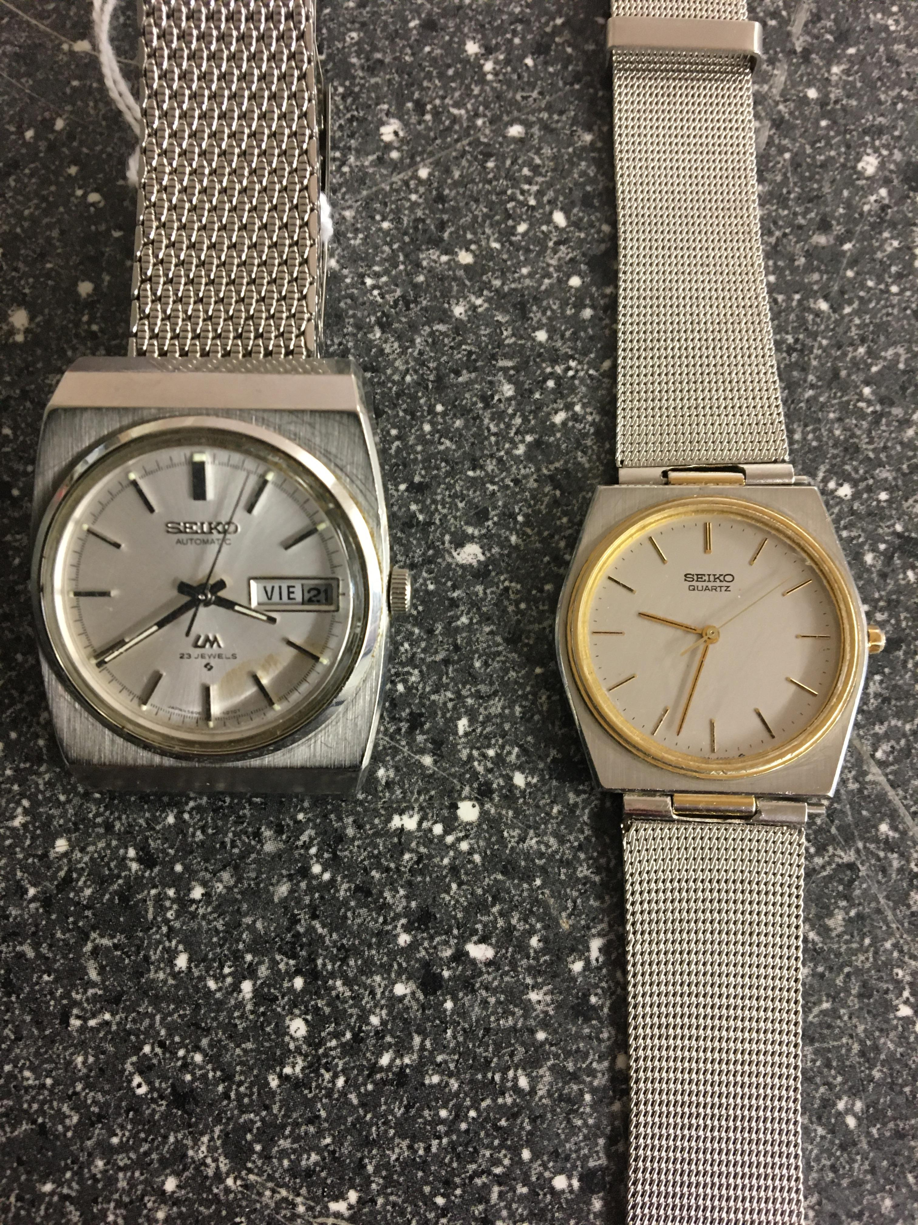 Seiko automatic day/datejust watch and quartz example.