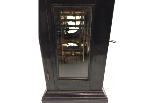 18/19th century English bracket clock in ebonised case with silvered chapter ring - Image 4 of 10
