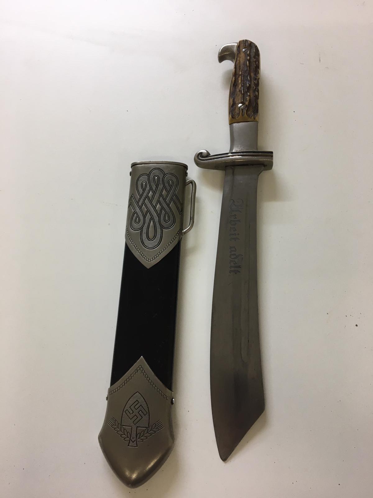 WWII German RAD hewer and sheath, blade by Carl Julius Krebs.