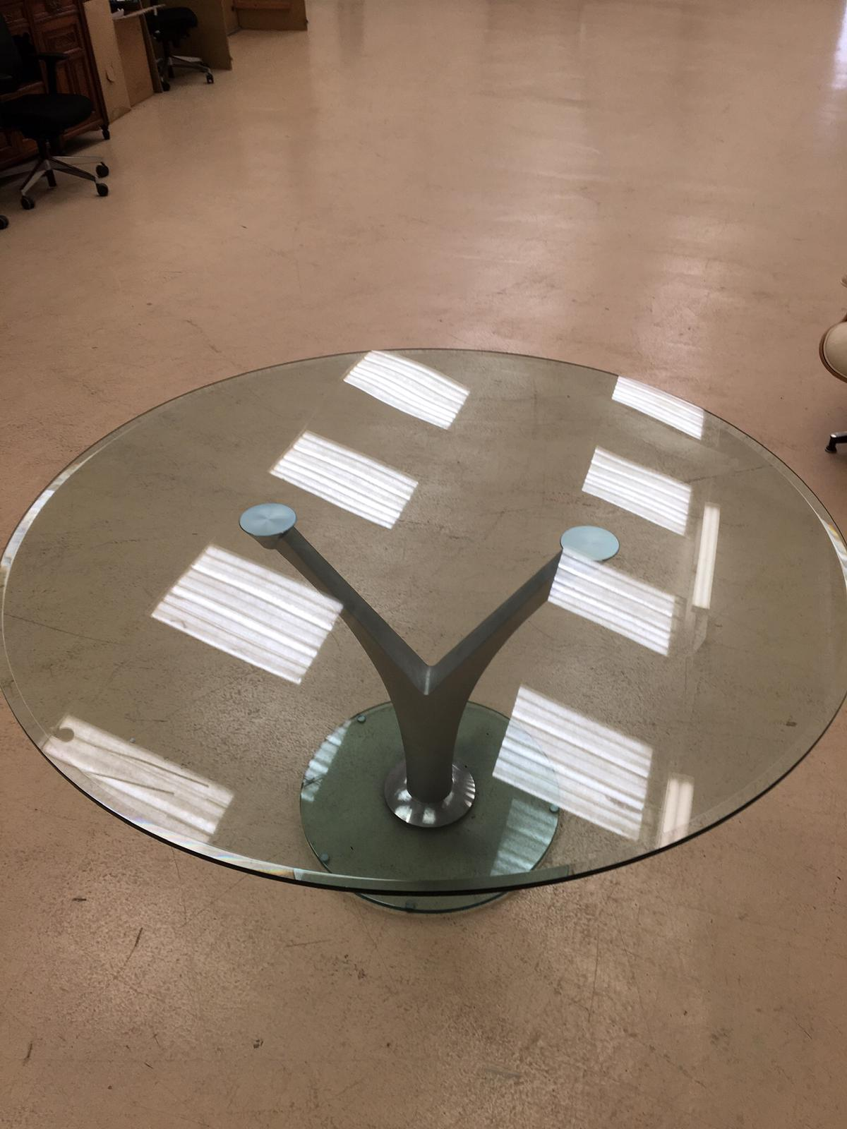Rolf Benz glass table on chrome V stand