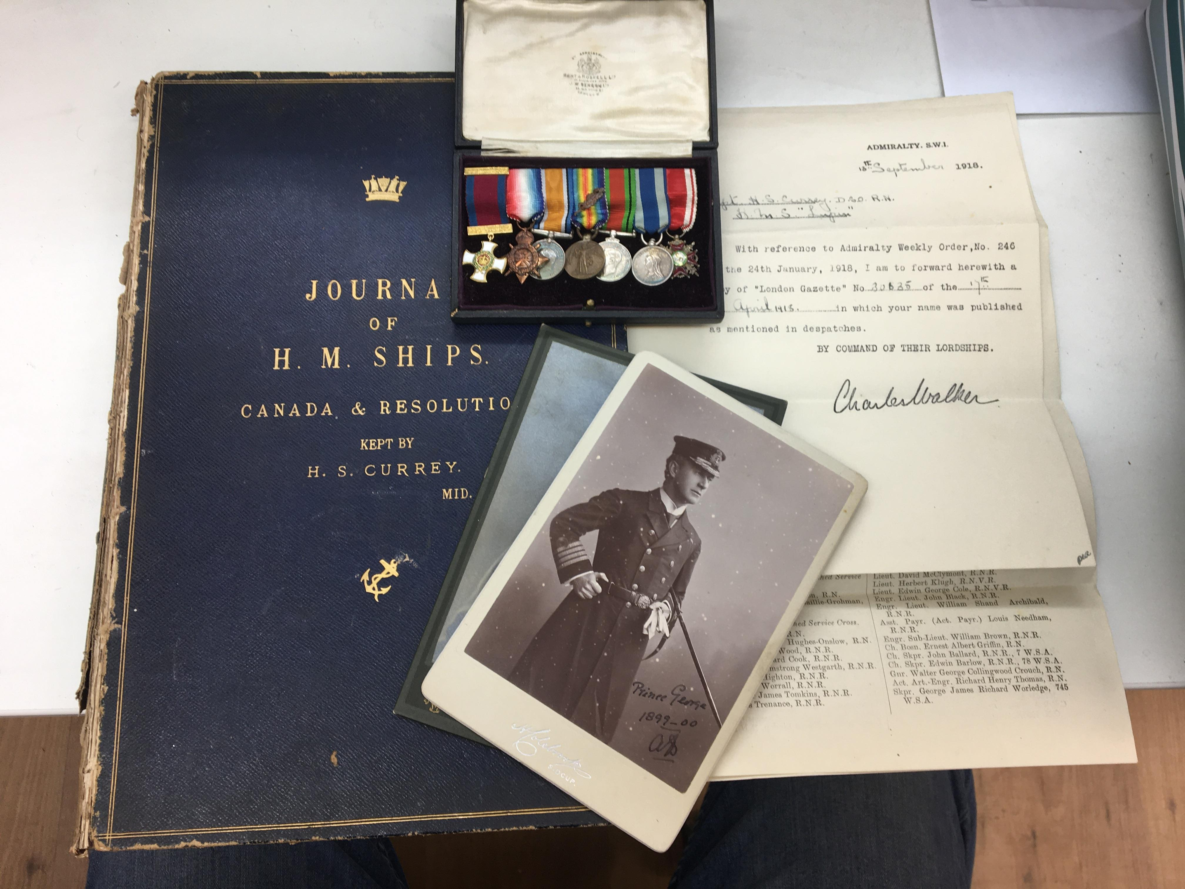 Victorian RN Capt H S Currey DSO, memorabilia to inc miniature medal group, DSO (possibly gold GVR