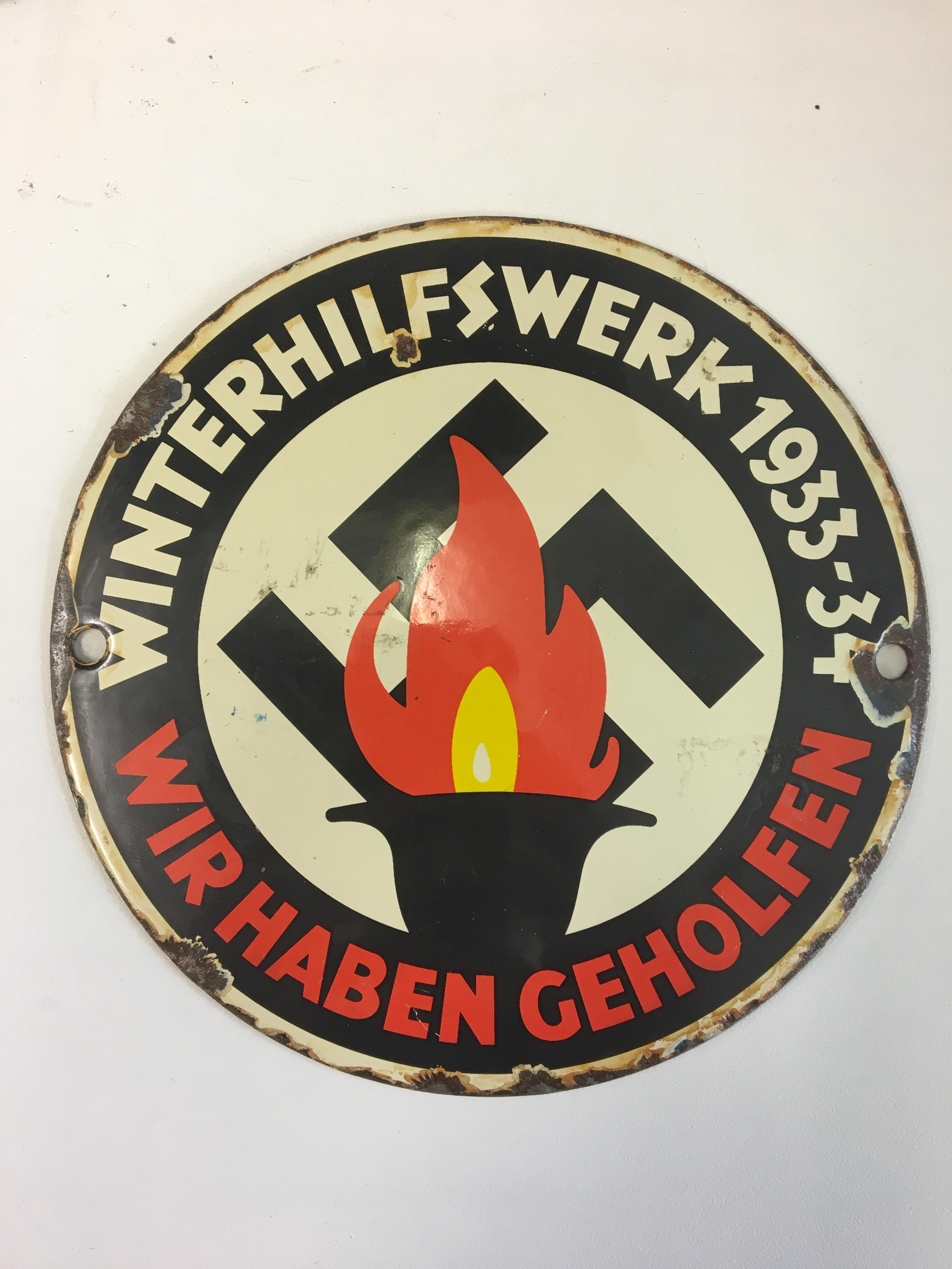 "Pre WWII German enamelled sign ""1933-34 Winterhilfswerke"" plaque. - Image 2 of 2"