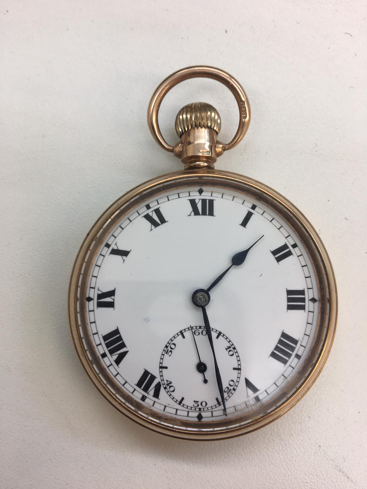 9ct gold pocket watch with gold dust cover full working order, dial clean total weight 71.6g