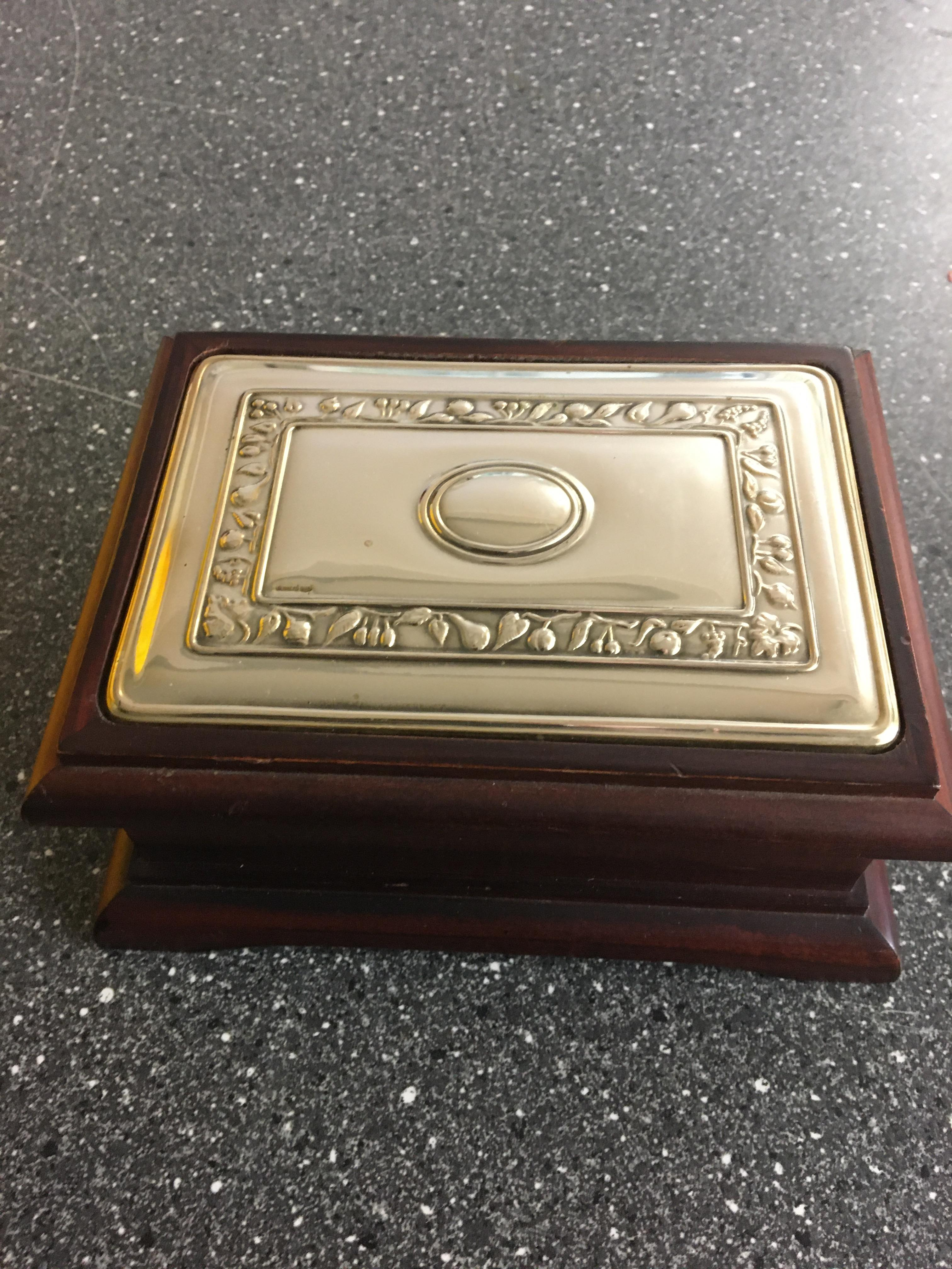 HM Silver topped wooden box.