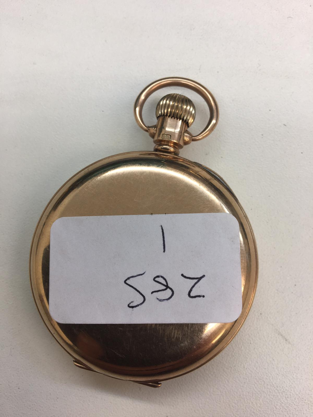 9ct gold pocket watch with gold dust cover full working order, dial clean total weight 71.6g - Image 2 of 2