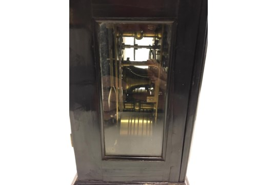 18/19th century English bracket clock in ebonised case with silvered chapter ring - Image 3 of 10