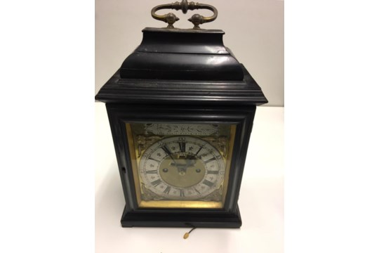 18/19th century English bracket clock in ebonised case with silvered chapter ring - Image 5 of 10