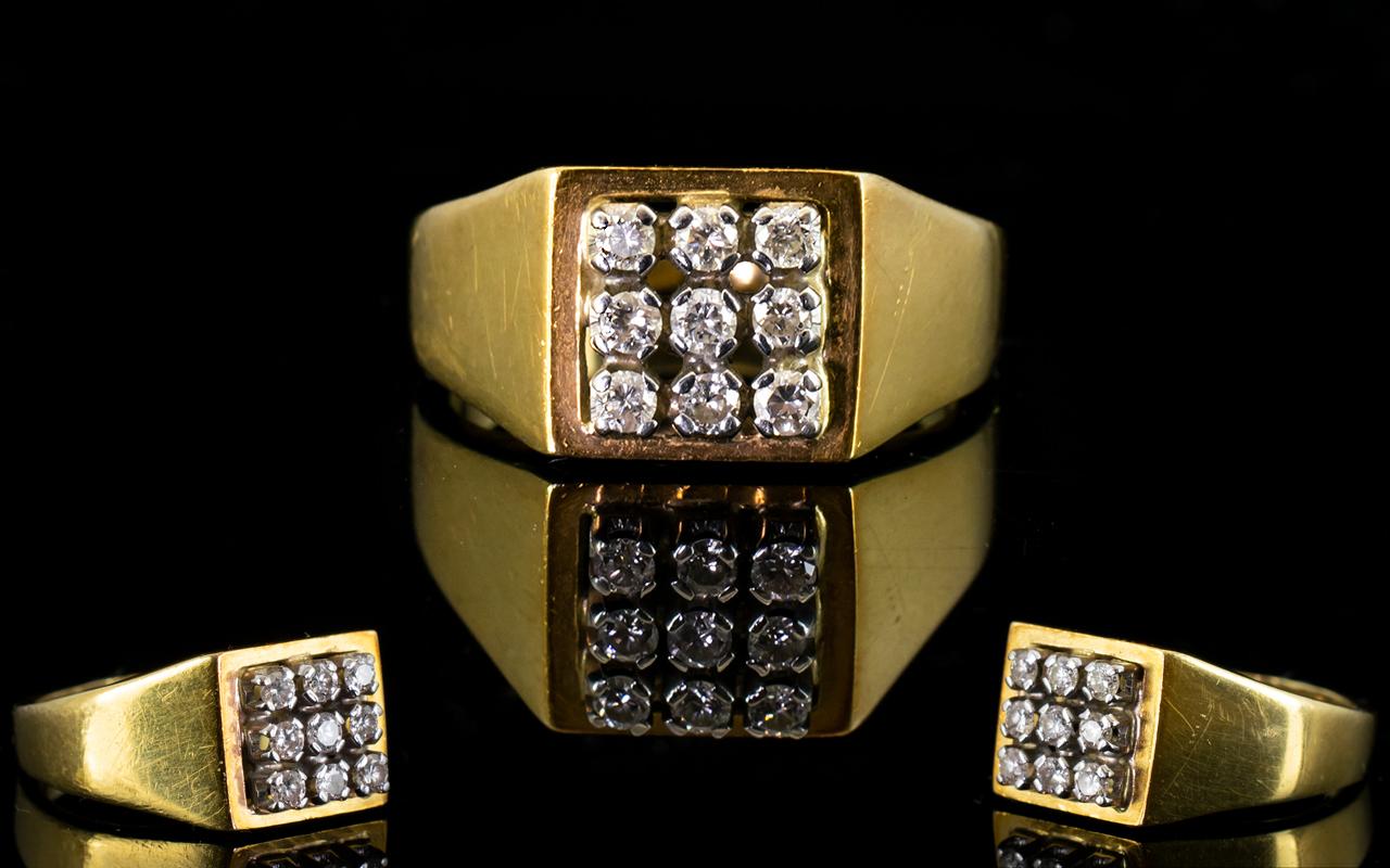 Lot 29 - 18ct Yellow Gold Diamond Set Cluster Rin