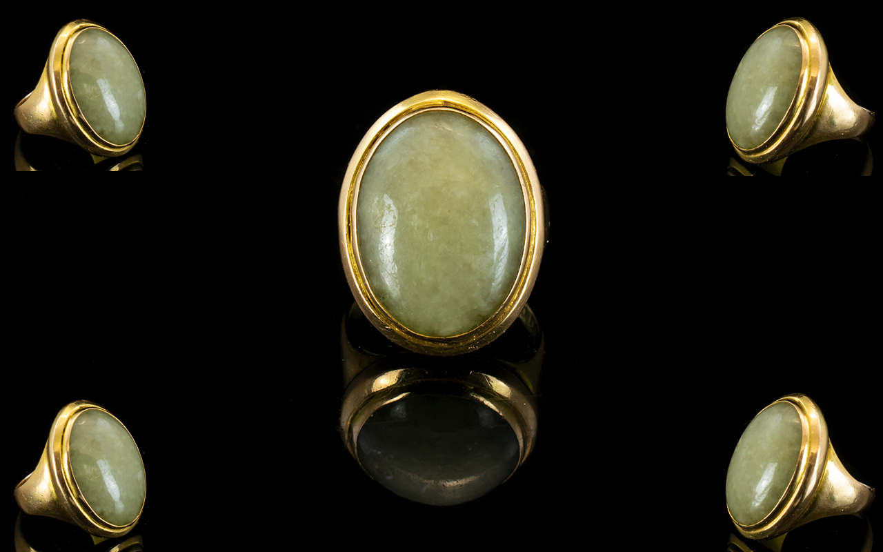 Lot 146 - 18ct Gold Single Stone Oval Shaped Chalc