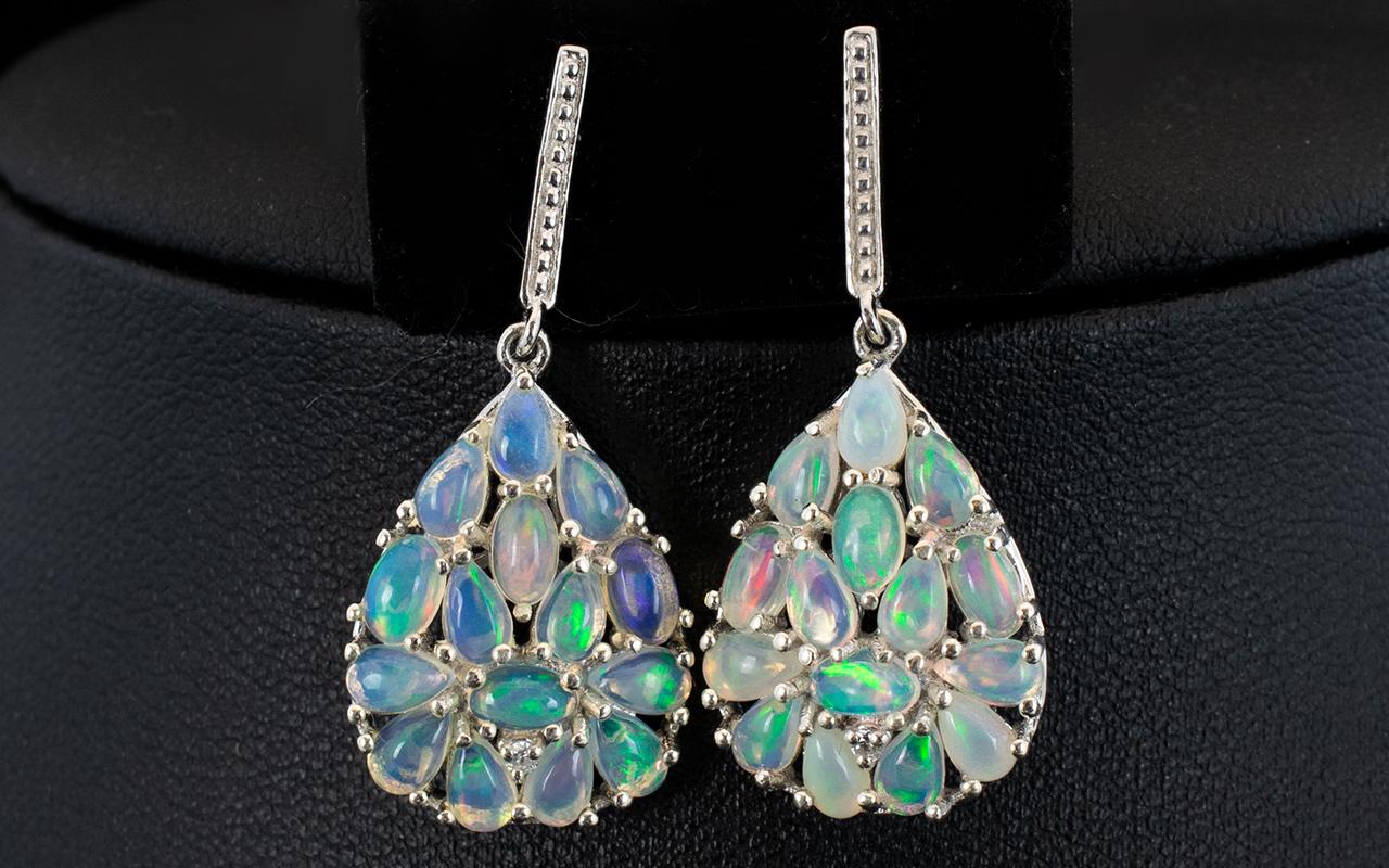 Lot 162 - Pair of Opal Cluster Drop Earrings, larg