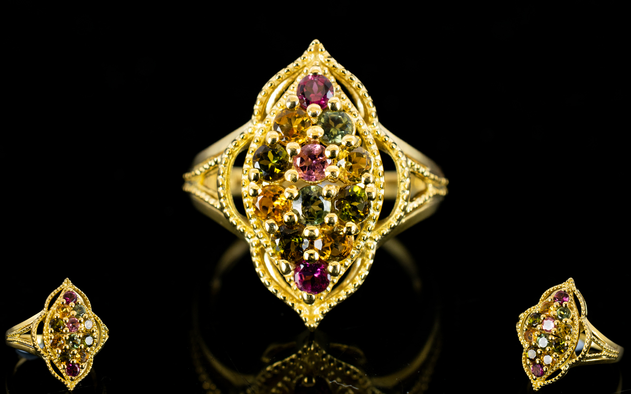 Lot 173 - Tourmaline Multicolour Marquise Shape Ri