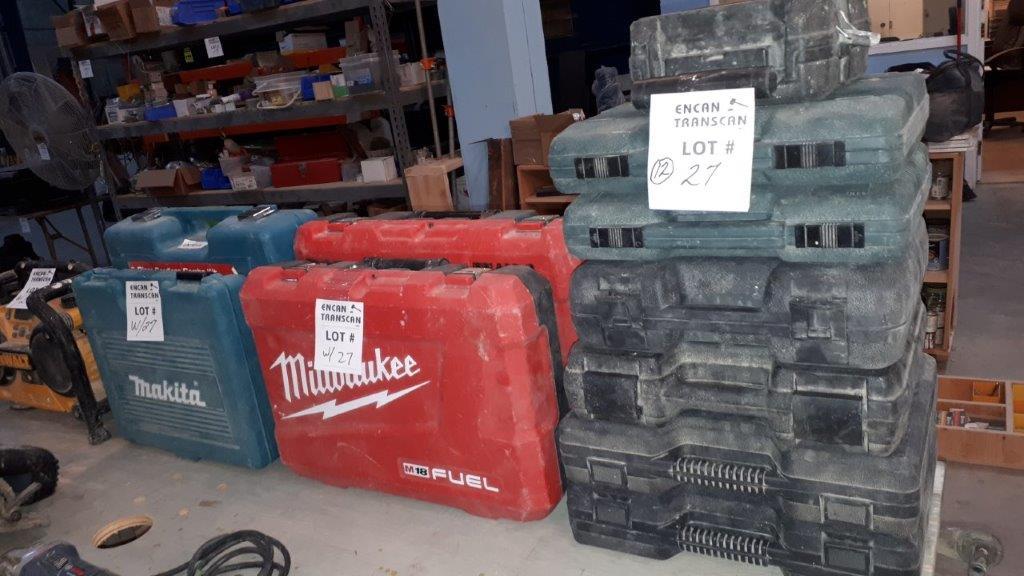 Lot 27 - LOT: Asst. Portable Tool Cases & DEWALT Radio