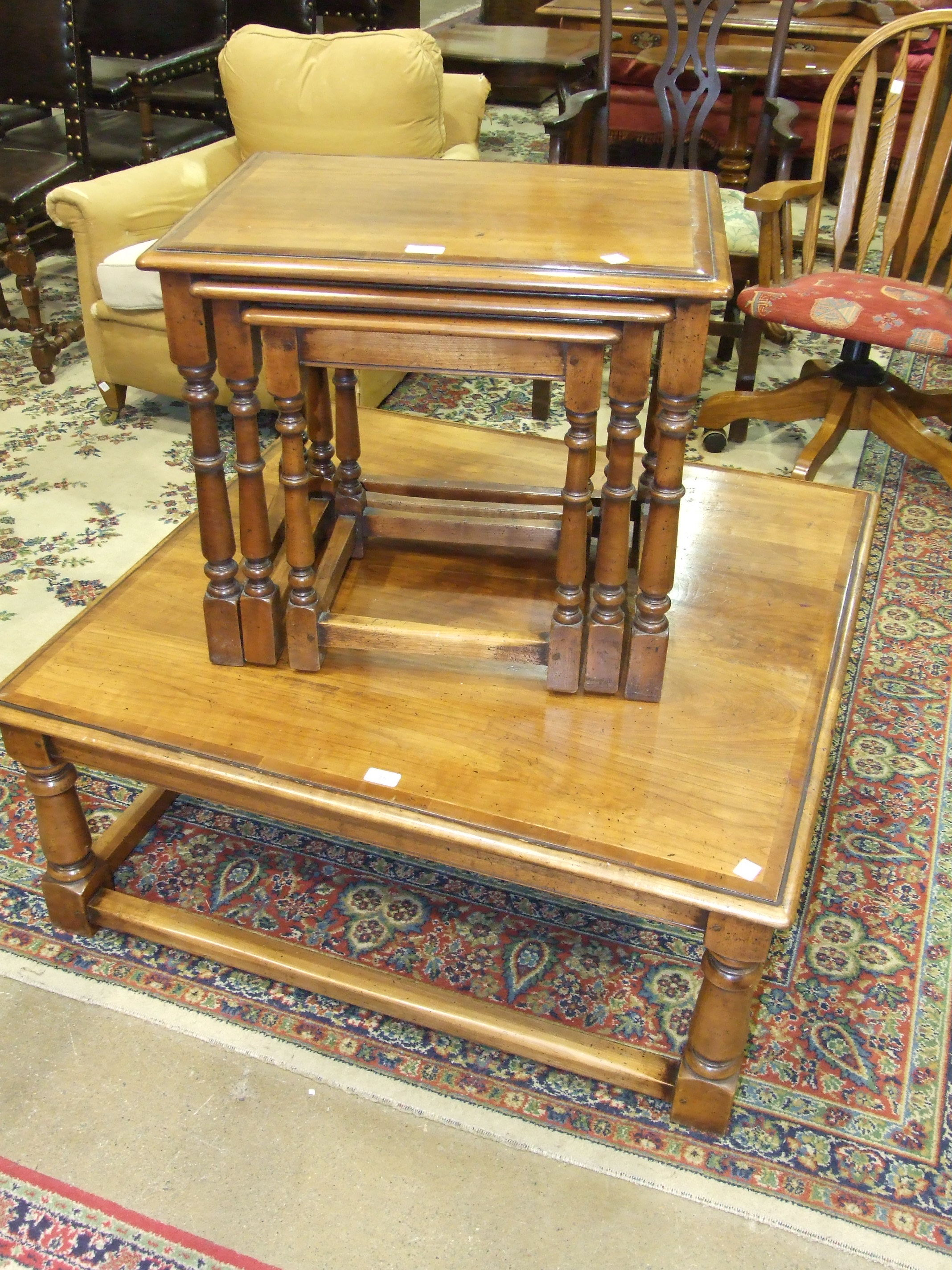 Lot 15 - Simpsons of Norfolk, a square top hardwood coffee table with yew inlay, 100cm square, 40.5cm high