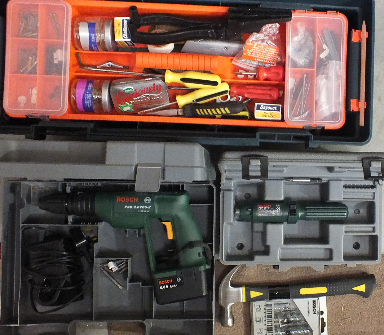 Lot 50 - A Bosch PSB 9,6VES-2 battery operated drill, boxed and a collection of hand tools, etc.