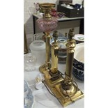 A collection of modern brass table lamps, other brassware and metalware, a carpet bowls game and