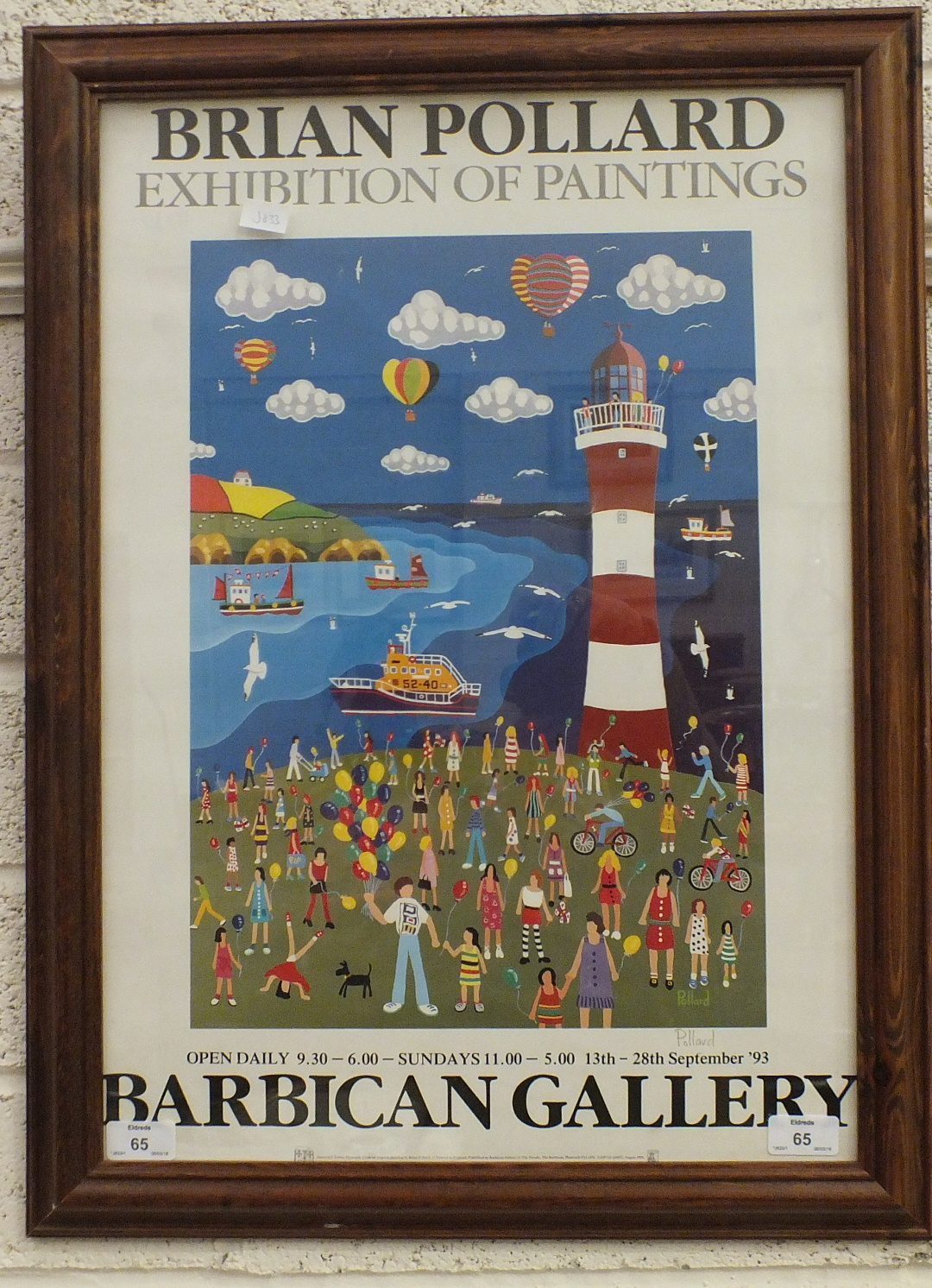 Lot 65 - After Brian Pollard, a poster for Exhibition of Paintings at the Barbican Gallery 13th-28th