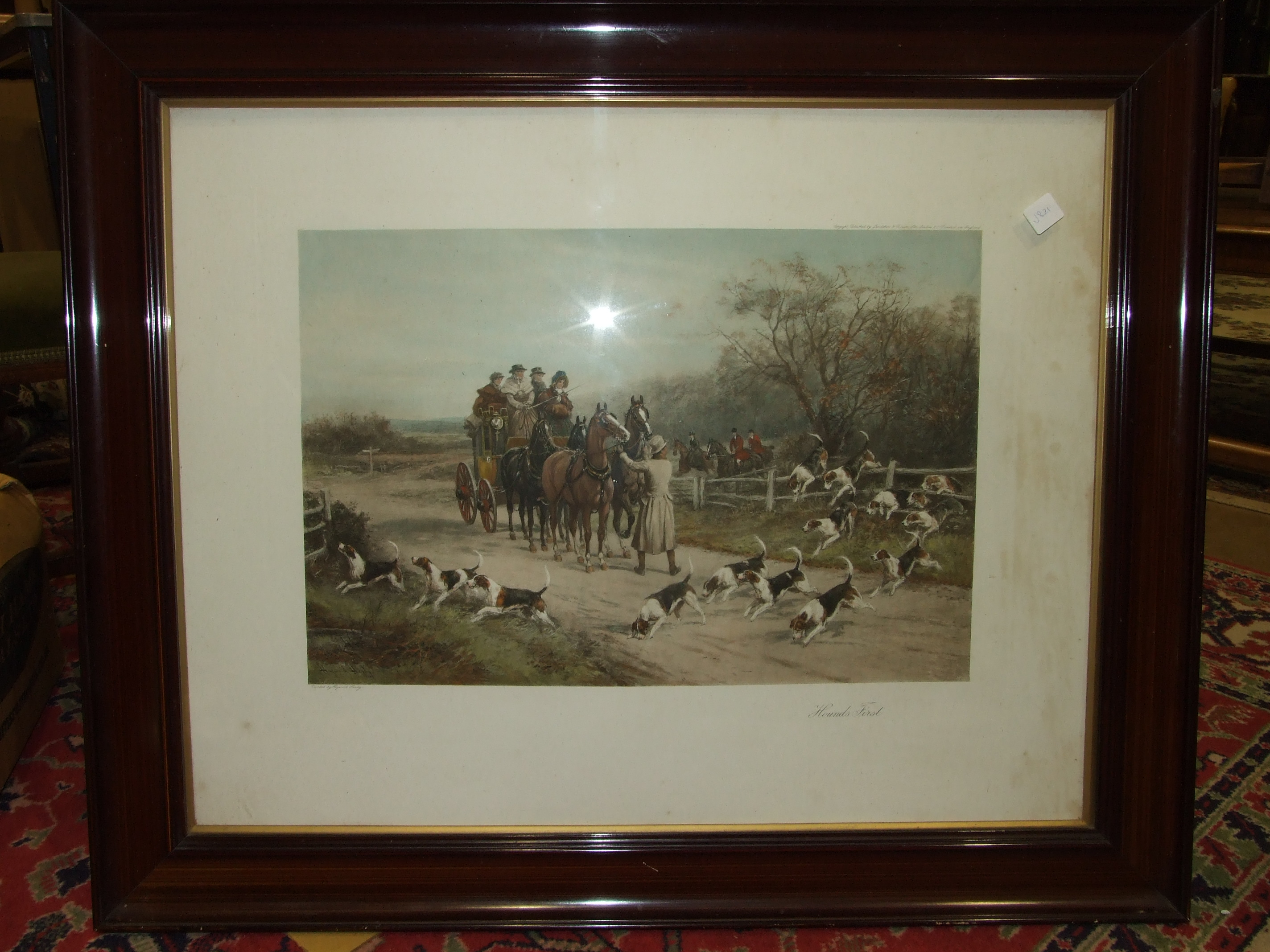Lot 41 - After Hayward Hardy, Hounds First, a coloured print, 53 x 70cm and a companion, Forward Away, a