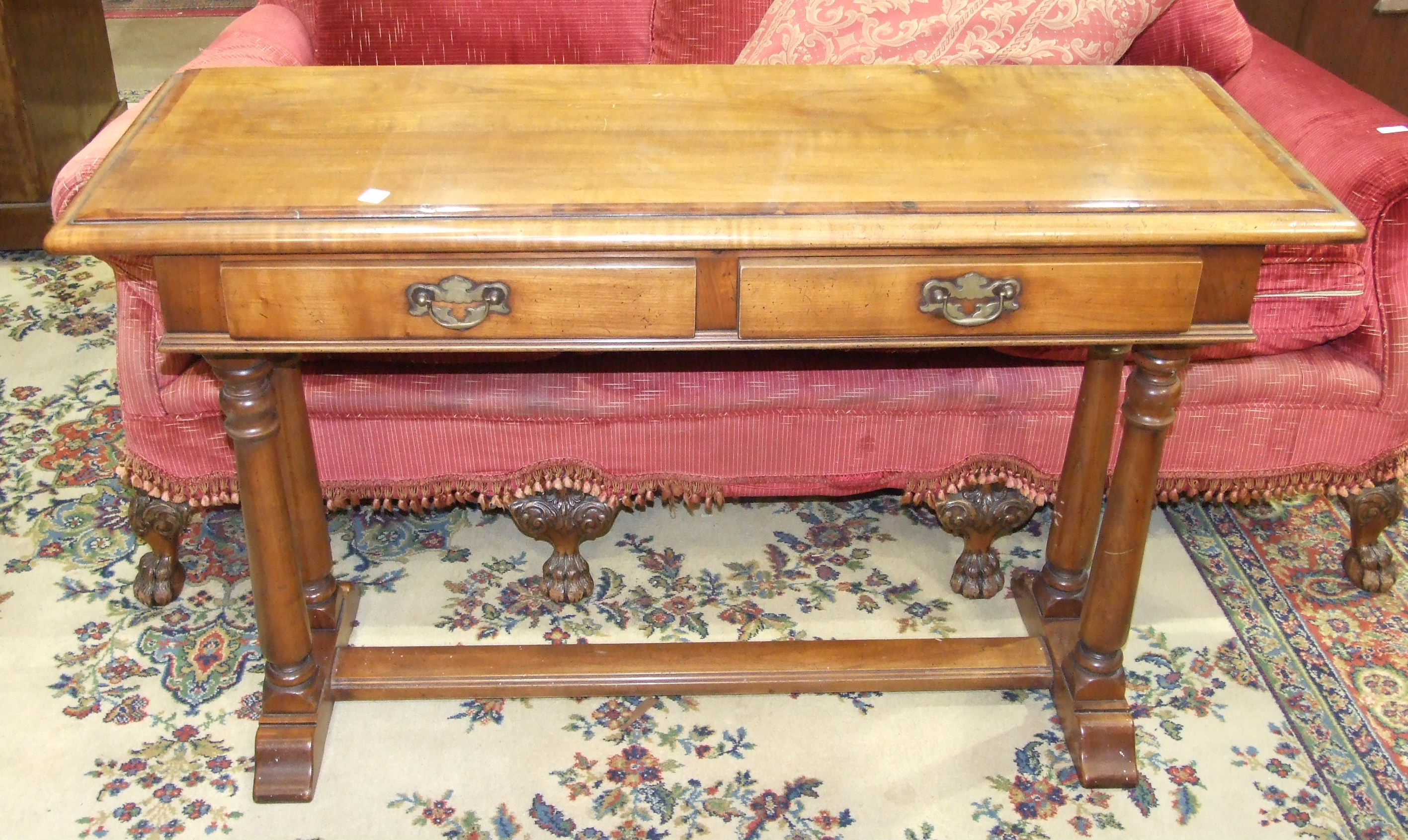 Lot 17 - Simpsons of Norfolk, a hardwood and yew inlay hall table, the rectangular top above two frieze