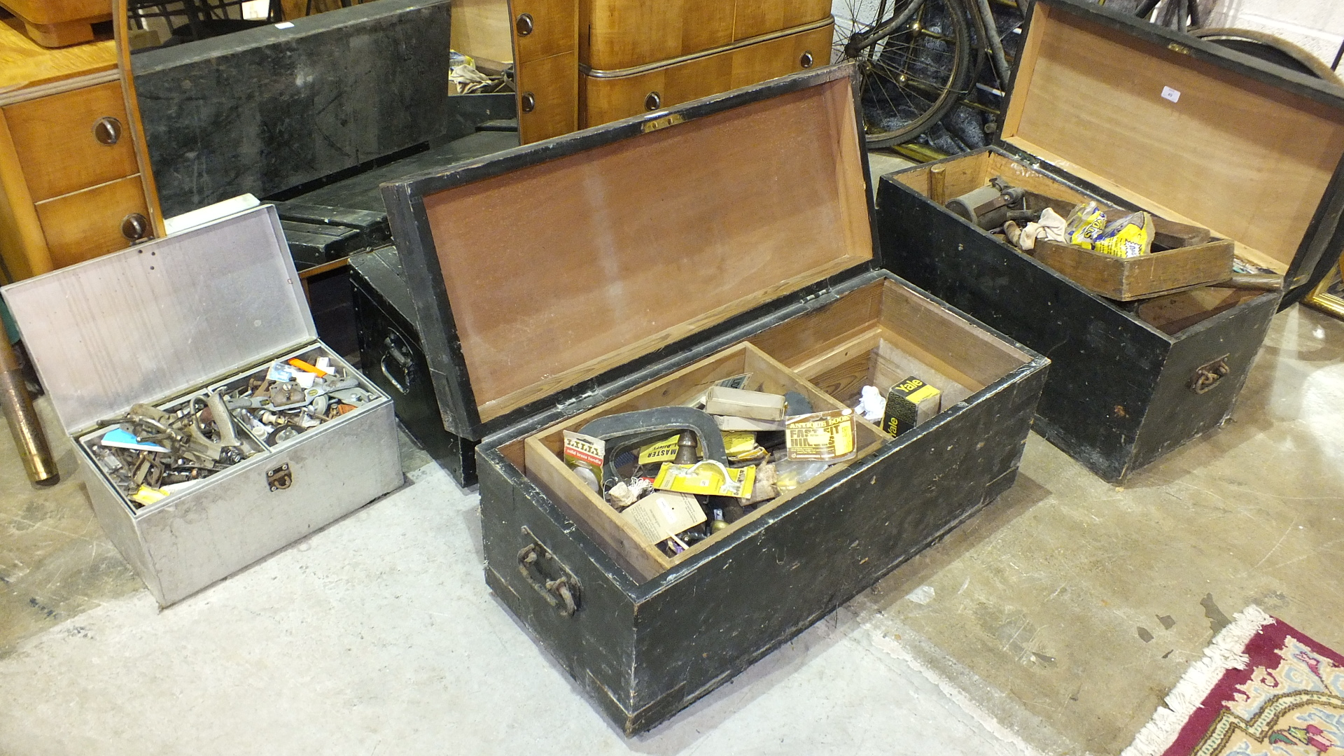 Lot 49 - A quantity of various hand tools contained in three wooden tool chests.