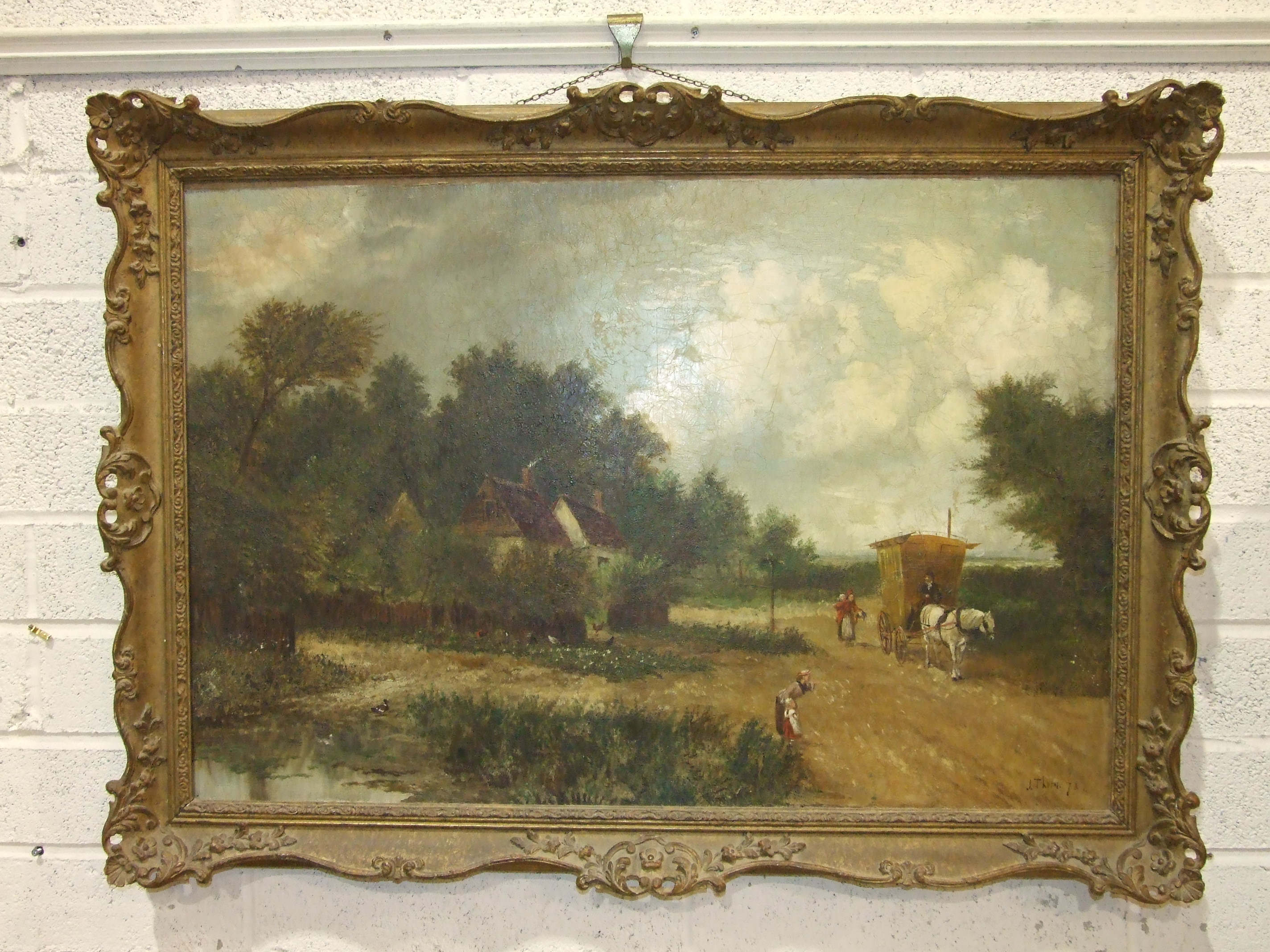 Lot 45 - J Thorn, Figures and a Horse-drawn Carriage Passing a Cottage, signed oil on canvas, dated '78, 60 x