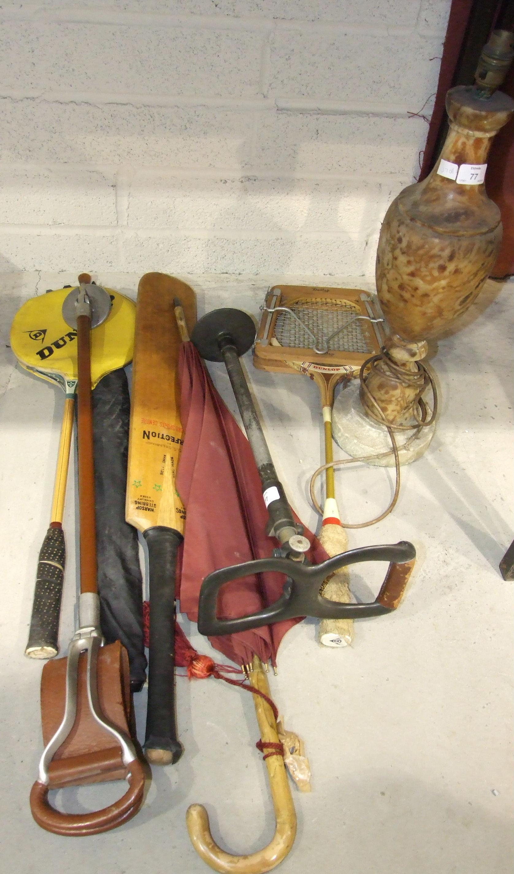 Lot 77 - A W Mills Ltd, Sunderland alloy telescopic shooting stick, a modern shooting stick, a marble lamp
