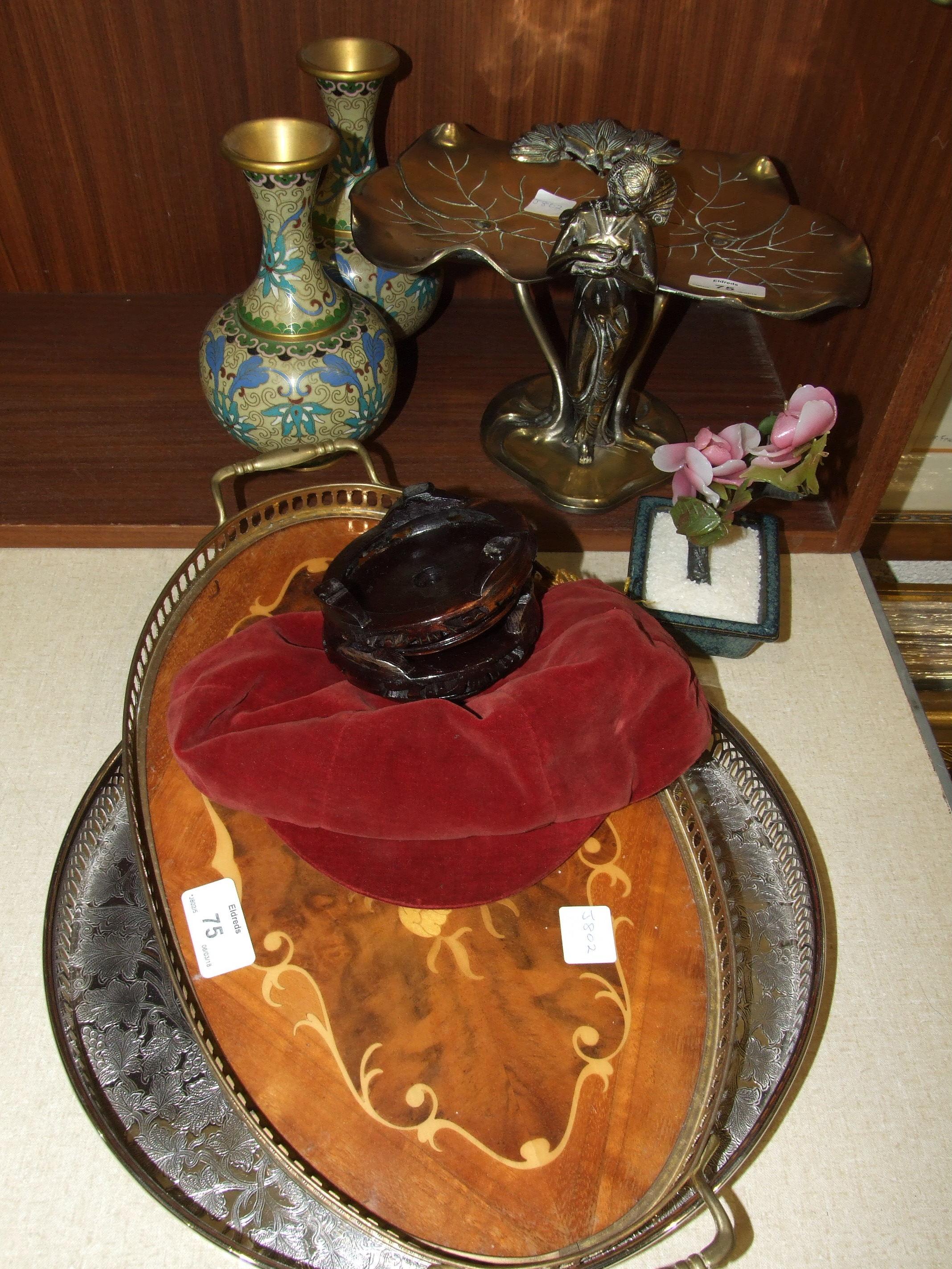 Lot 75 - An Art Nouveau style brass tazza, 20cm high, a pair of modern cloisonné vases, a brass table lamp