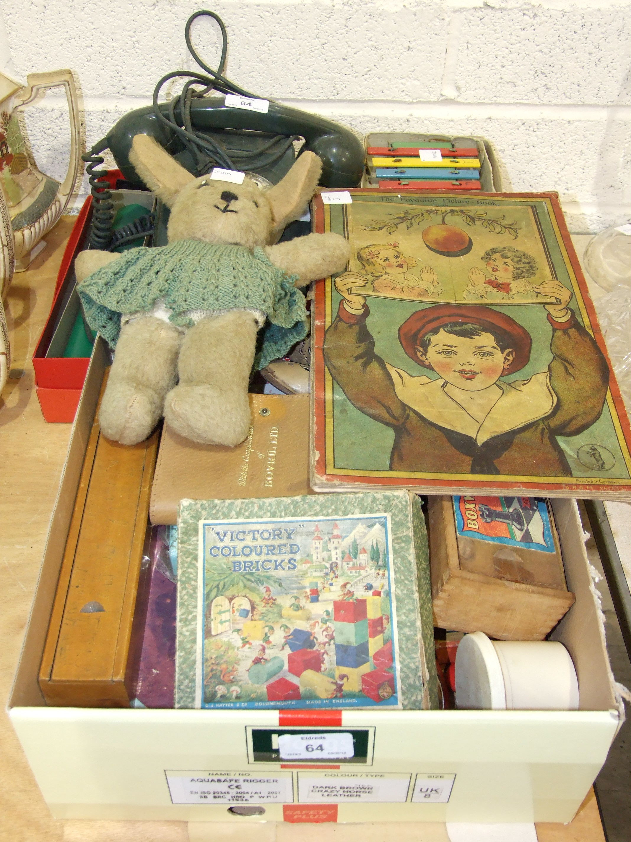 """Lot 64 - A Welso Toys Melody Master Xylophone in original box, a child's Edwardian """"pop-up"""" picture book,"""