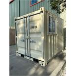 UNUSED 8' CONTAINER/PORTABLE OFFICE WITH WINDOW AND SIDE DOOR ENTRANCE (LOCKING), FORKLIFT POCKETS