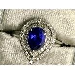 Beautiful Pear Sapphire & Diamond 14ct White Gold Ring