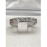 14k WHITE GOLD DIAMOND 1/2 ETERNITY RING