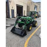 John Deere 4X4 Diesel Tractor, with Woods 1006 Hydraulic Font End Loader Attachment