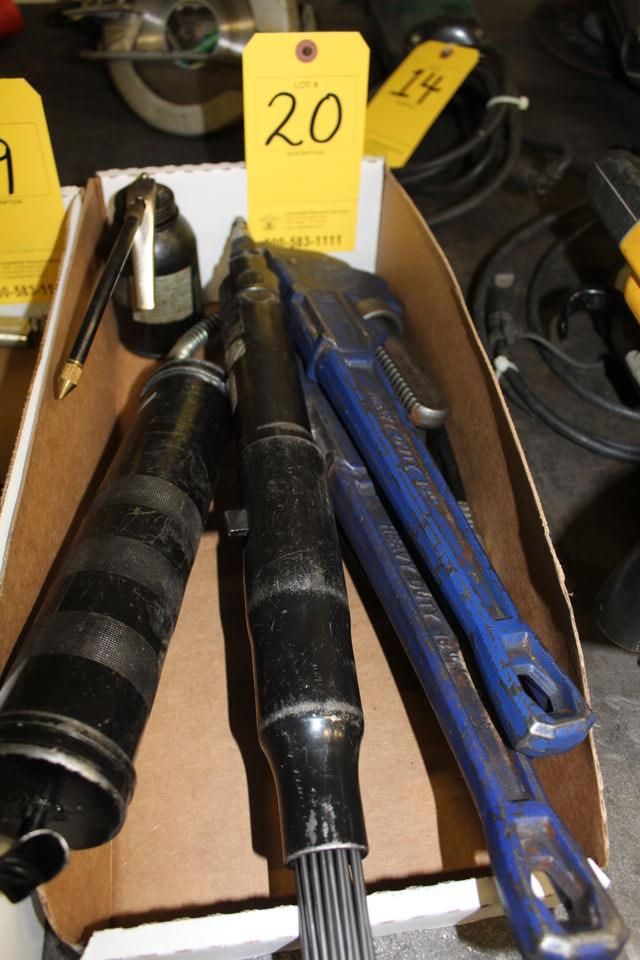 Lot 20 - CONT OF BOX: GREASE GUN, SEALER, PIPE WRENCHES