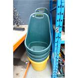 8 green and yellow garden trugs