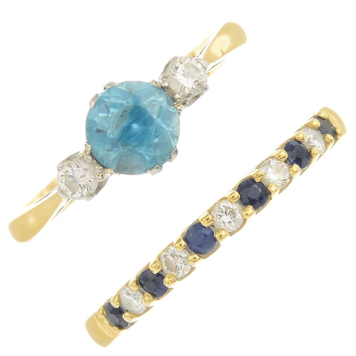 Lot 26 - An 18ct gold sapphire and diamond dress ring,