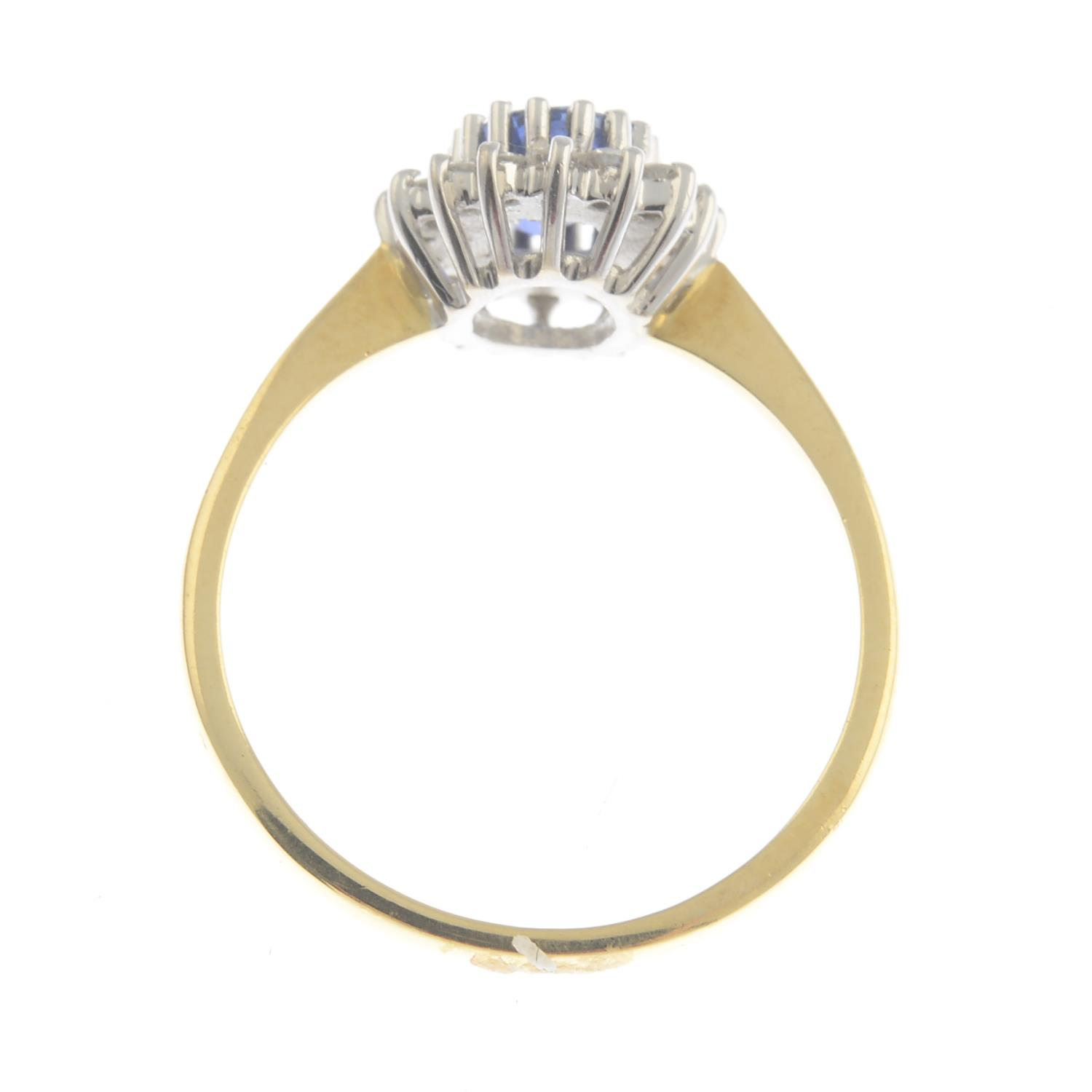 An 18ct gold sapphire and diamond cluster ring.Calculated sapphire weight 0.80ct, - Image 3 of 3