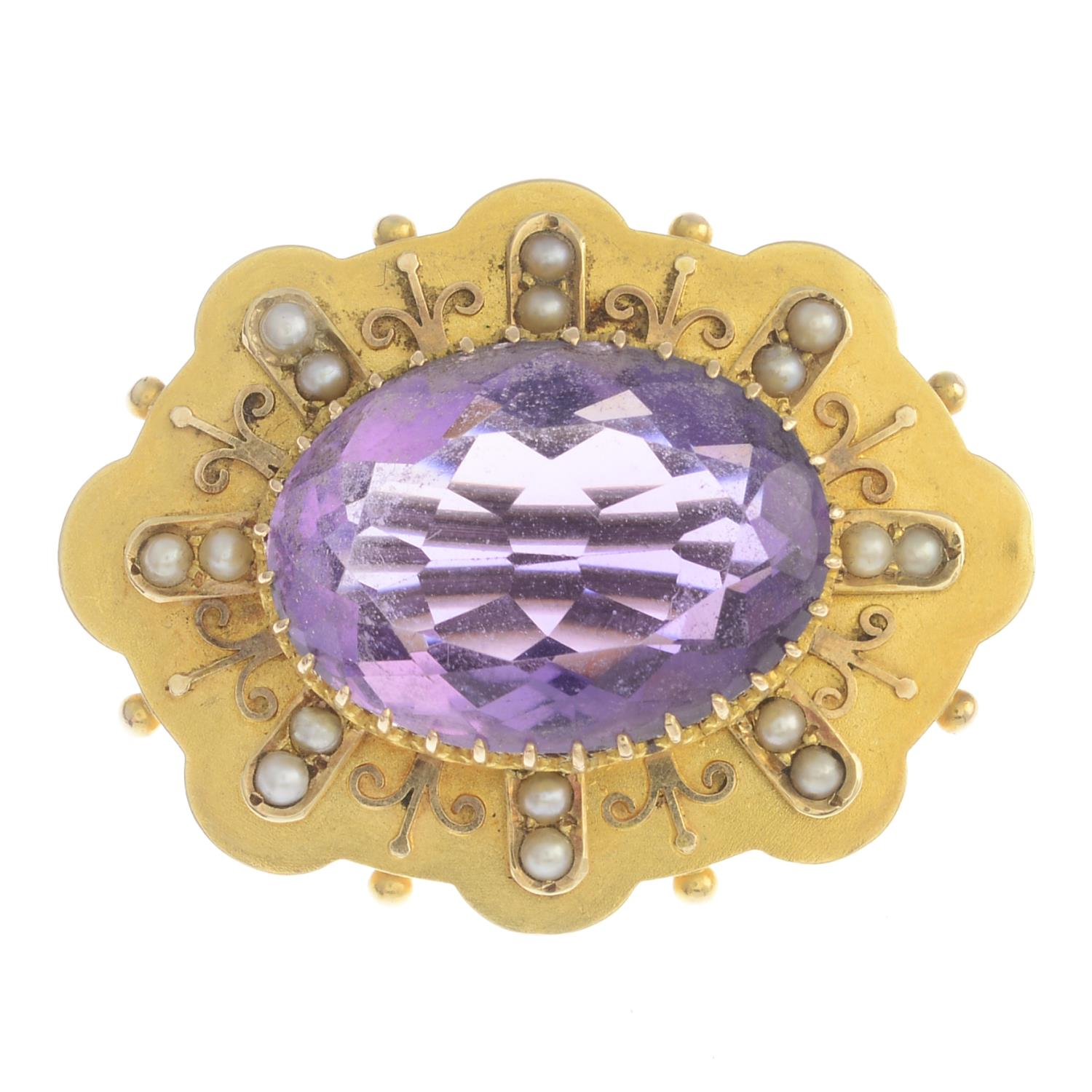 Lot 49 - A late Victorian amethyst and split pearl brooch.Amethyst calculated weight 14.78cts,