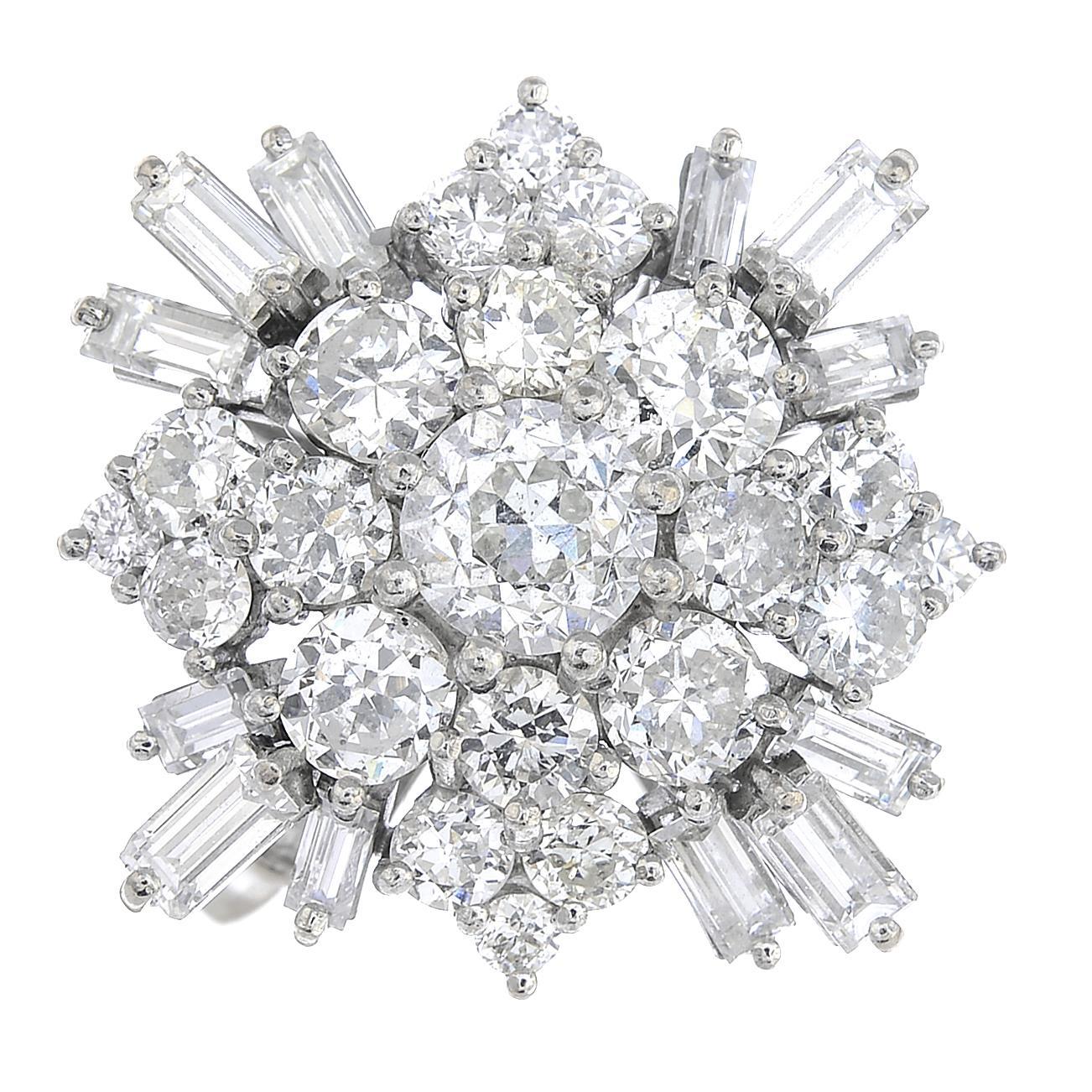 Lot 53 - An 18ct gold diamond dress ring.