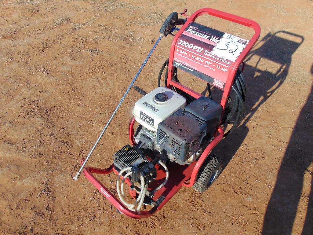 Lot 32 - Ex-Cel 3200psi Pressure Washer s/n 4102010239, 11hp honda gas eng,