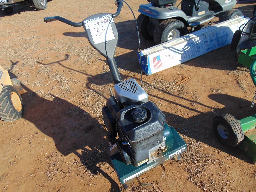 "Lot 35 - Craftsman 24"" Front Tine Tiller, s/n 022504t006839, briggs & Stratton 5hp gas eng,"