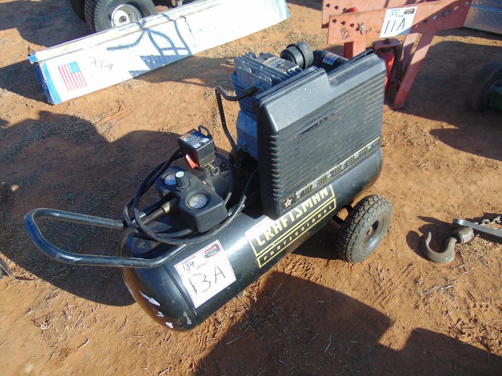 Lot 13a - Craftsman Air Compressor, s/n 2302129627, electric motor, 25 gallon tank