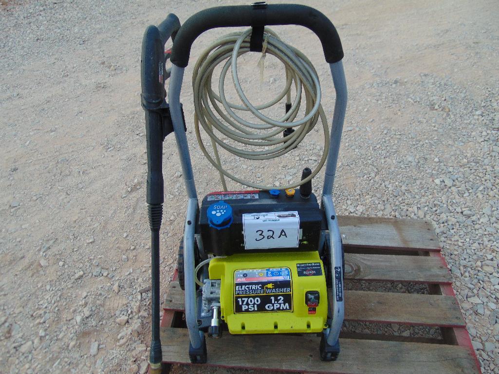 Lot 32a - Ryobi 1700 PSI Pressure Washer