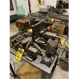 ASSORTED MACHINE PARTS INCLUDING WILTON BENCH VISE AND V-BLOCKS