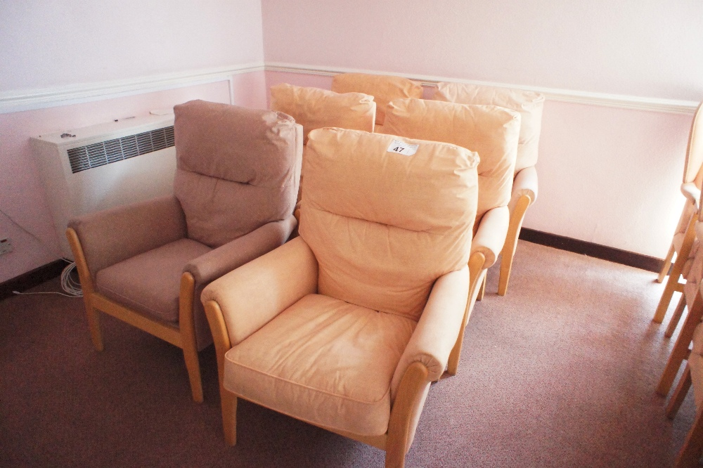 Lot 47 - 6 similar yellow easy clean upholstered armchairs (located in room 18, Davey Court)