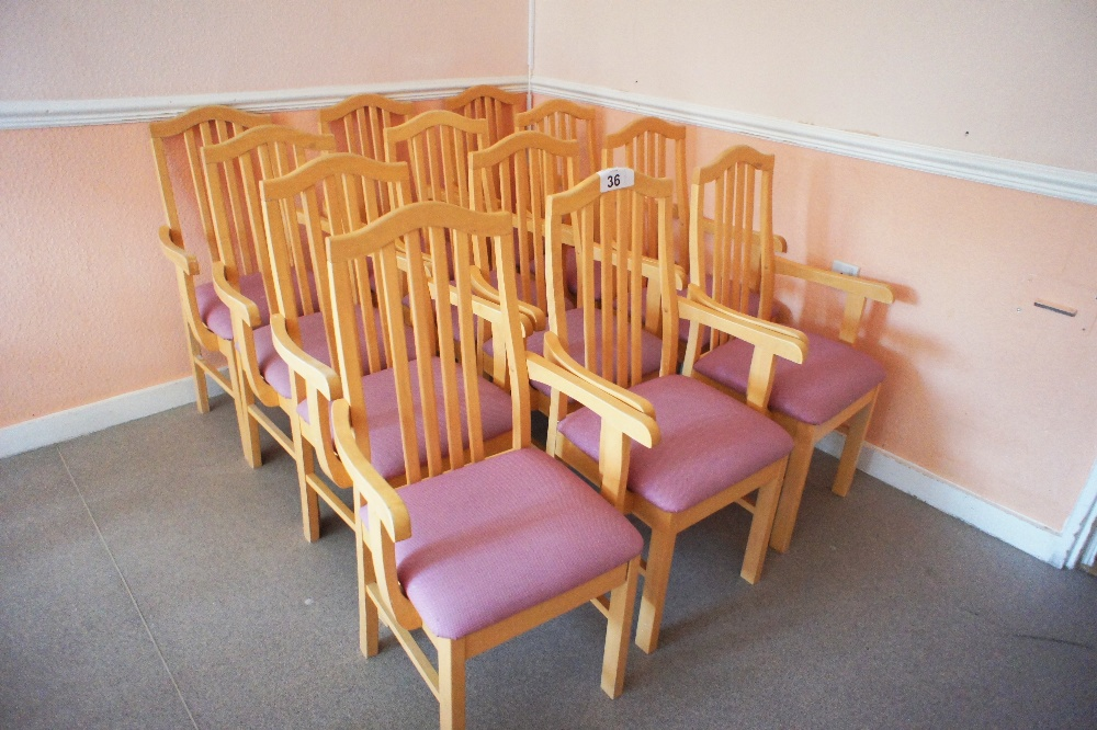 Lot 36 - 12 lightwood framed canteen armchairs with pink easy clean upholstered seats (located in room 17,