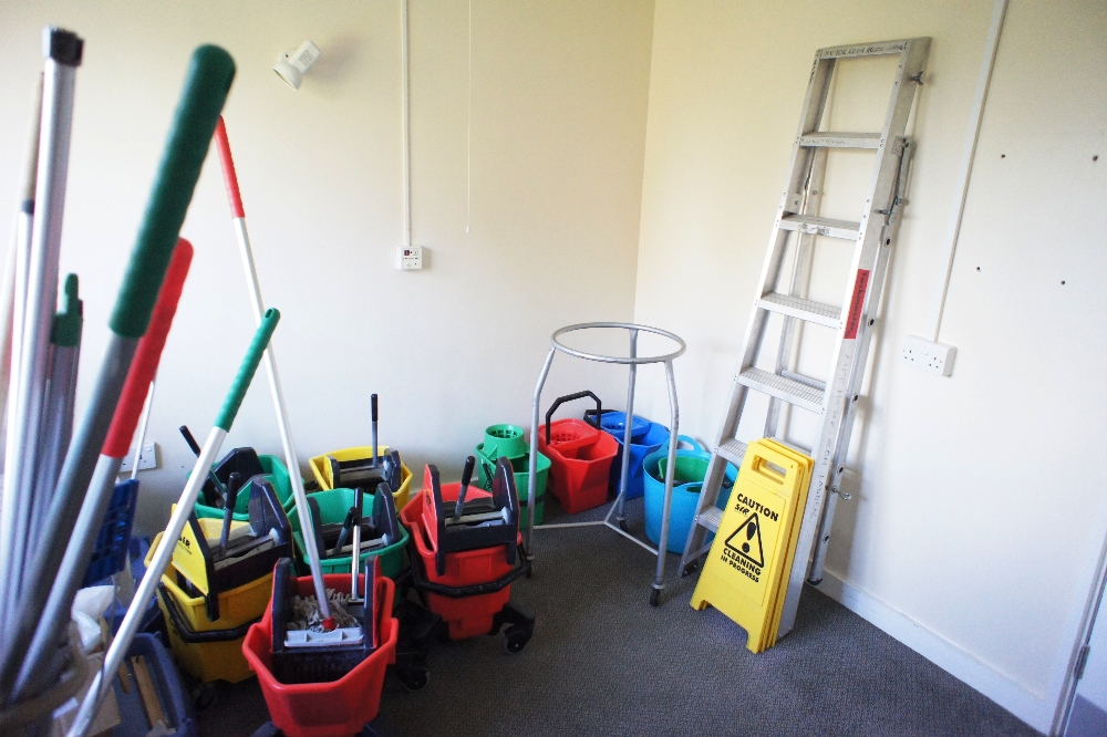 Lot 15 - a quantity of miscellaneous cleaner's equipment including; mobile buckets, and warning signs, mops