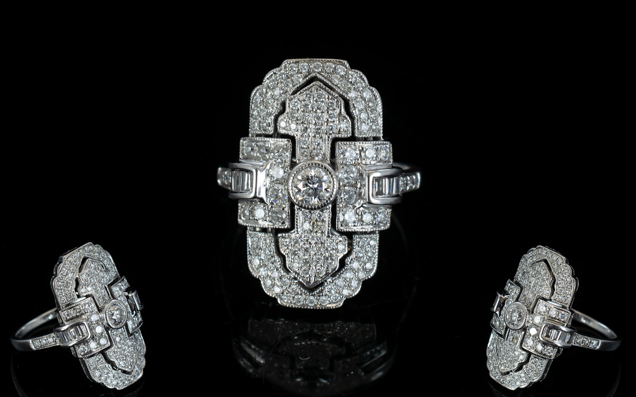 Lot 12 - Art Deco Style 18ct White Gold - Nice Qu