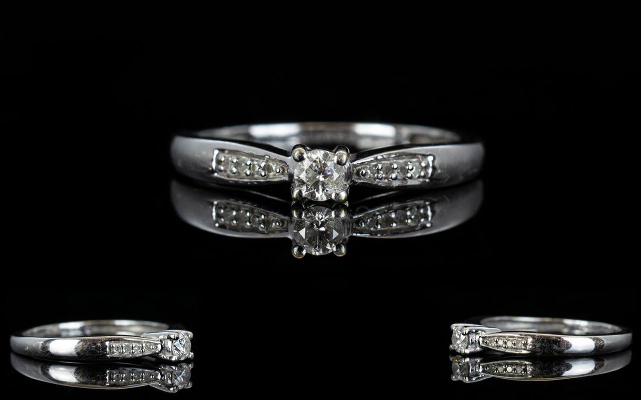18ct White Gold Diamond Set Dress Ring w