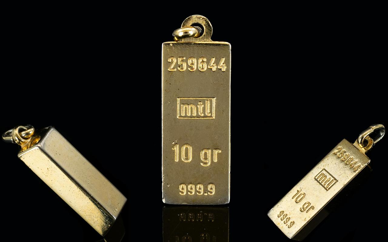 24 ct Gold Ingot. 10 Grains - 6.8 grams.